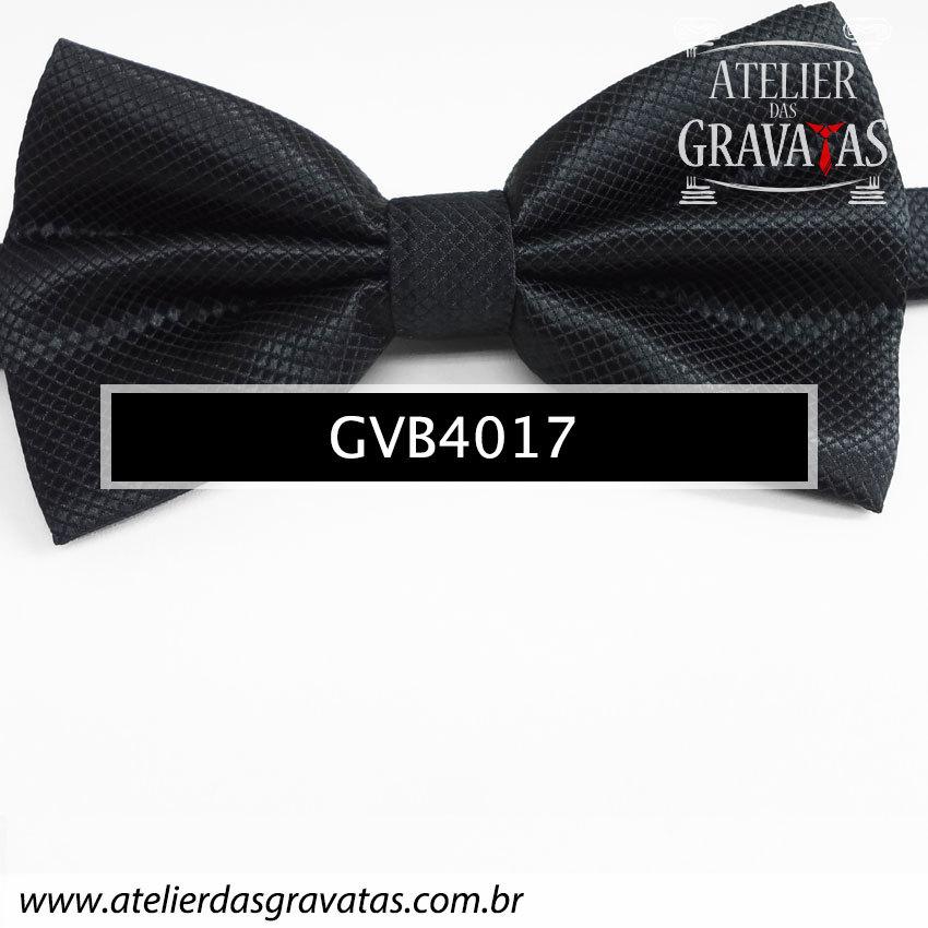 Gravata Borboleta Preta - nó pronto GVB4017 - com ajuste de largura