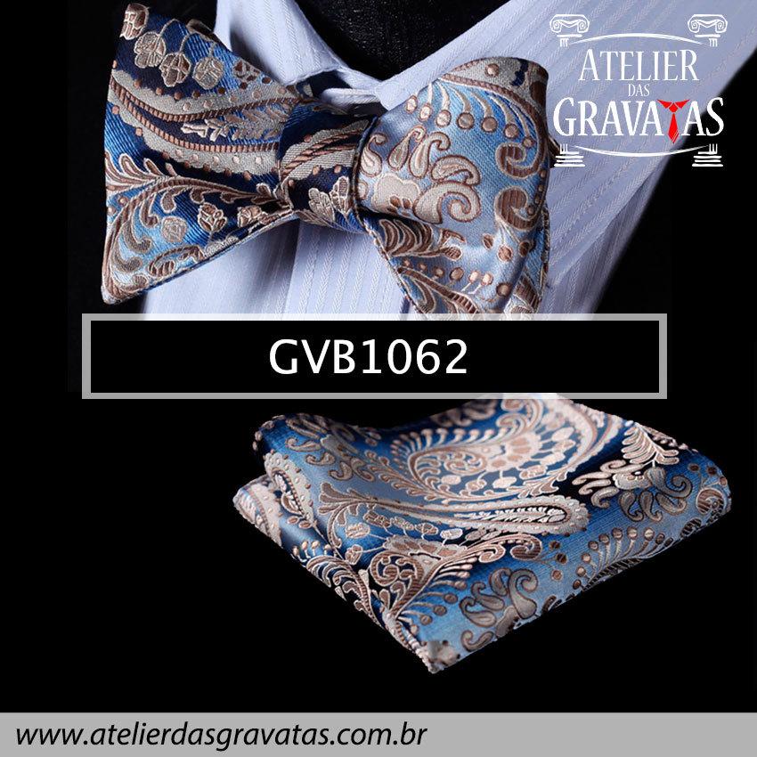 Gravata Borboleta de Seda Especial GVB1062 - acompanha lenço
