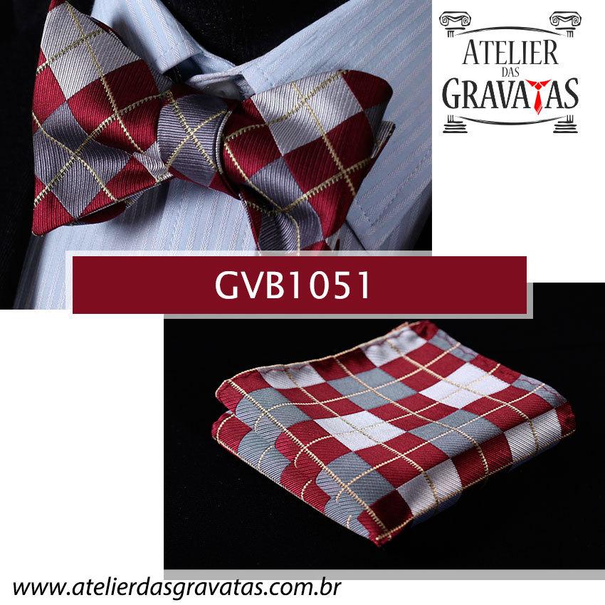 Gravata Borboleta de Seda Especial GVB1051 - acompanha lenço