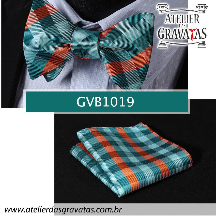 Gravata Borboleta de Seda Luxo Verde e Laranja GVB1019 - acompanha lenço