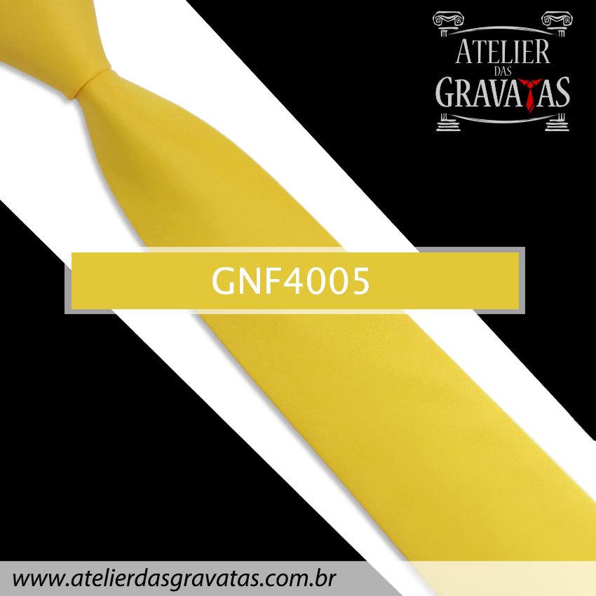 Gravata Slim Amarela 7,5cm GNF4005