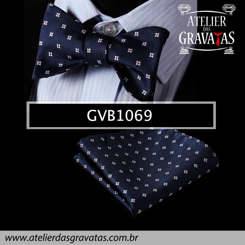 Gravata Borboleta de Seda Especial GVB1069 - acompanha lenço
