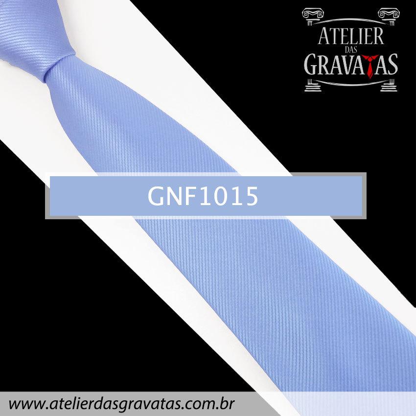 Gravata Slim Azul de Seda 8cm GNF1015