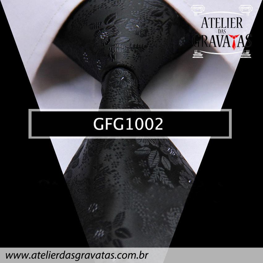 Gravata de Seda Especial Preta Floral 9cm GFG1002