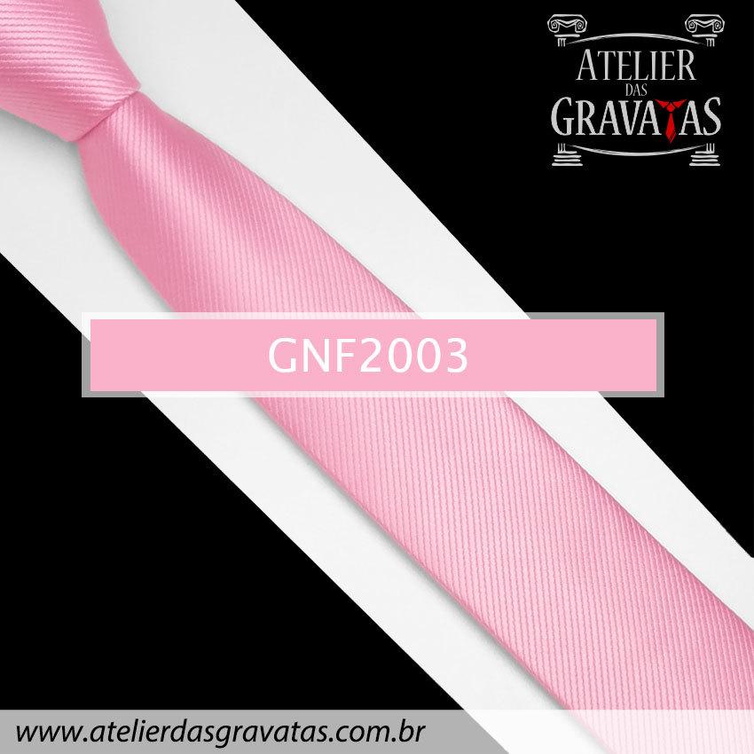 Gravata Slim Fit de Seda Rosa Clara 6cm GNF2003