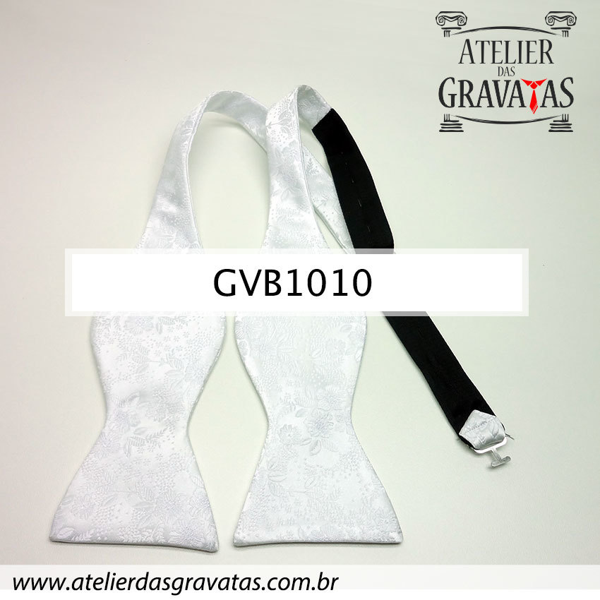 Gravata Borboleta Branca de Seda Especial Textura Floral GVB1010