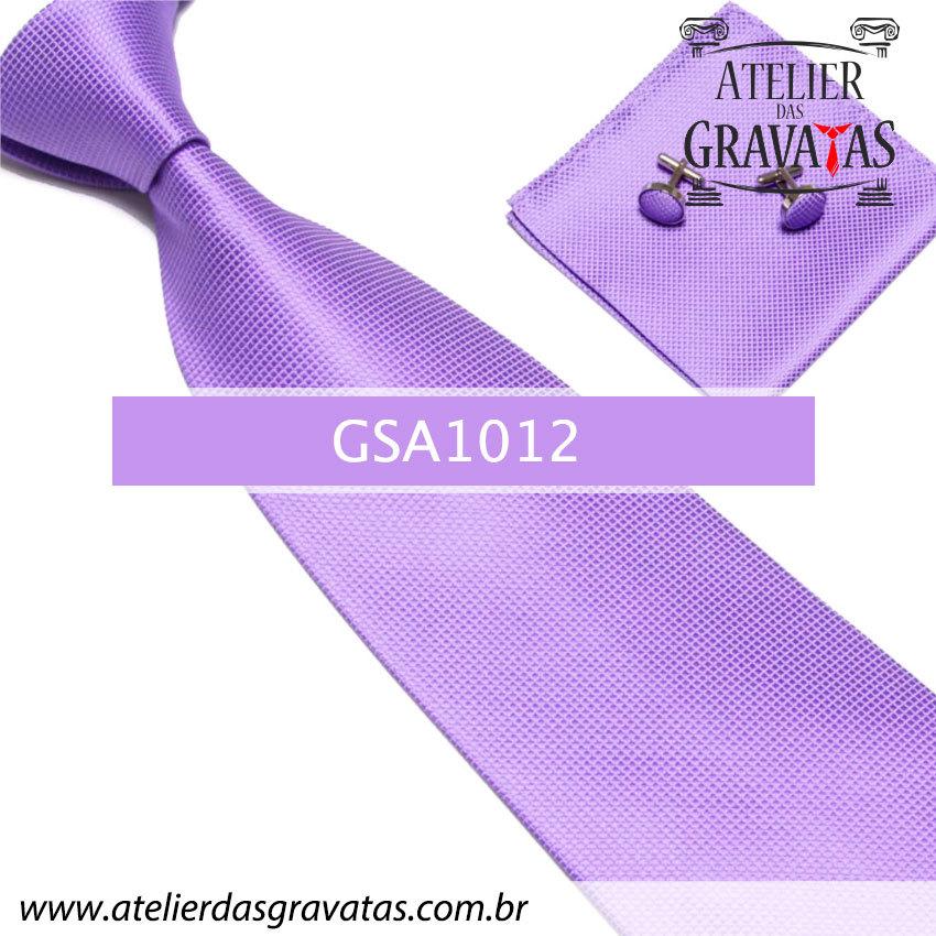 Gravata Lilás de Seda GSA1012 - acompanha lenço e abotoaduras