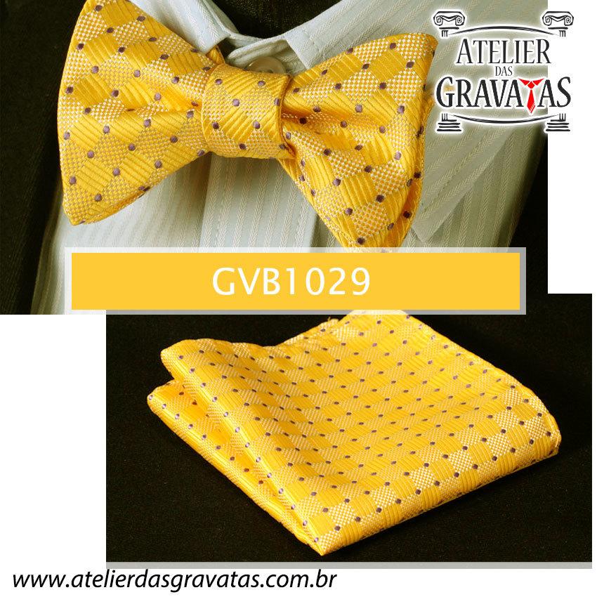 Gravata Borboleta de Seda Luxo GVB1029 - acompanha lenço