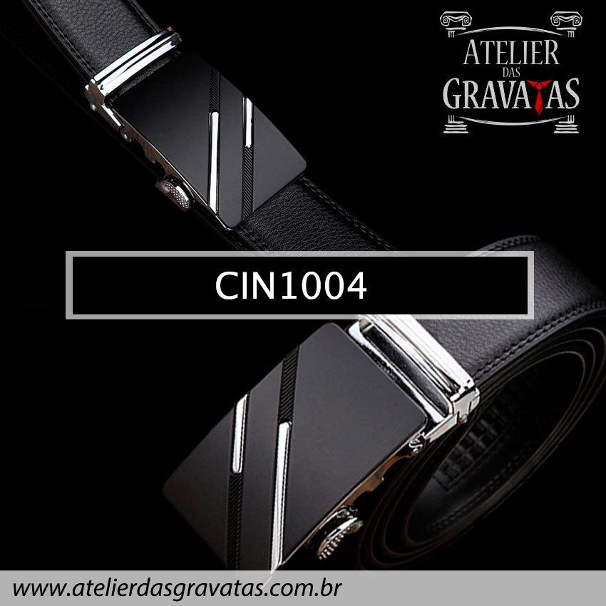 Cinto Masculino Luxo Preto CIN1004 - padrão europeu - sem furos e ajuste na catraca