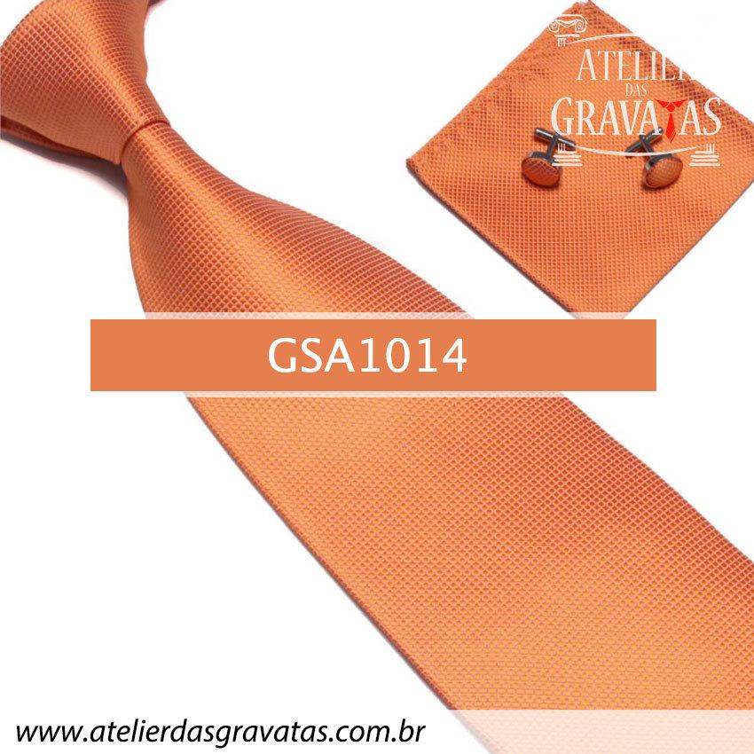 Gravata Laranja de Seda 10cm GSA1014 - acompanha lenço e abotoaduras