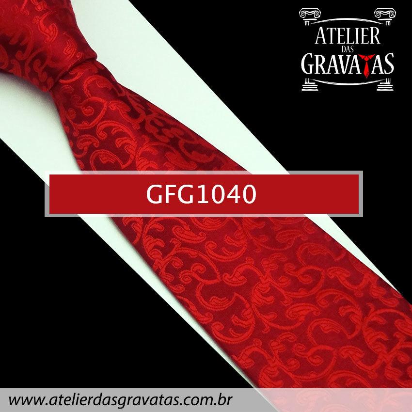Gravata Slim Especial Floral 9cm GFG1040 - acompanha lenço