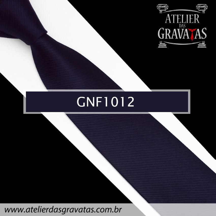 Gravata Slim Azul Escura de Seda 8cm GNF1012