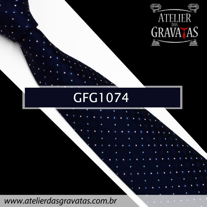 Gravata Slim Especial 8cm GFG1074 - acompanha lenço e abotoaduras