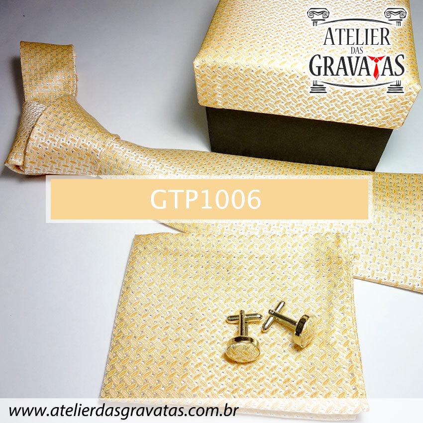 Gravata Elegante de Seda Feita a Mão GTP1006
