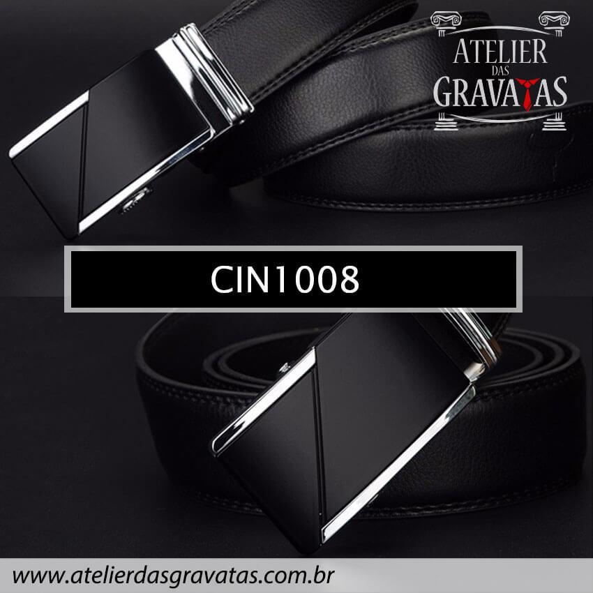 Cinto Masculino Luxo Preto CIN1008 - padrão europeu - sem furos e ajuste na catraca