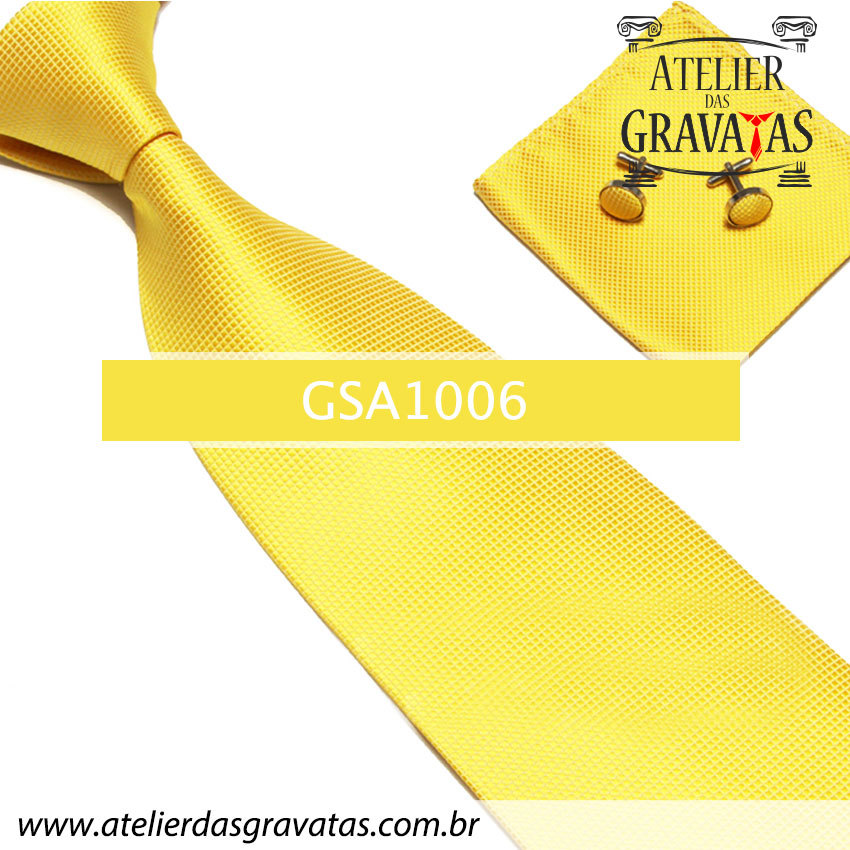 Gravata Amarela de Seda 10cm GSA1006 - acompanha lenço e abotoaduras