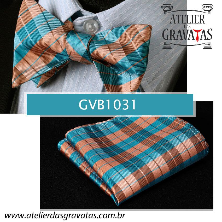 Gravata Borboleta de Seda Luxo GVB1031 - acompanha lenço
