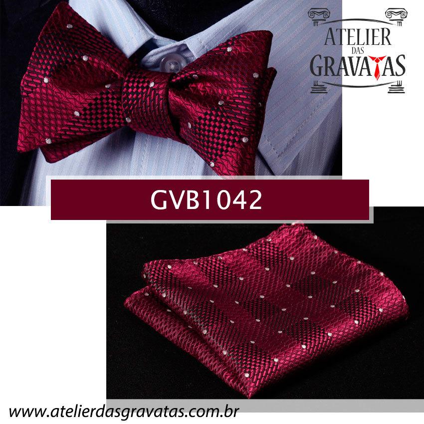 Gravata Borboleta de Seda Especial GVB1042 - acompanha lenço