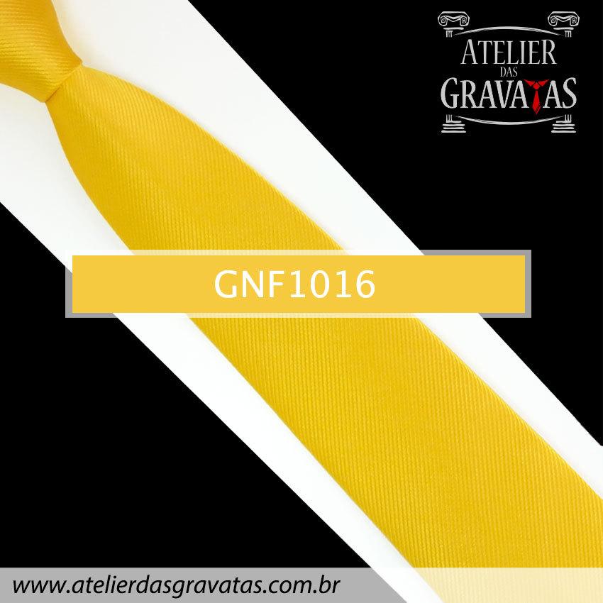 Gravata Slim Amarela de Seda 8cm GNF1016