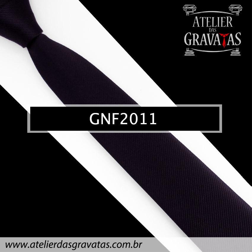 Gravata Slim Fit de Seda 6cm Preta GNF2011