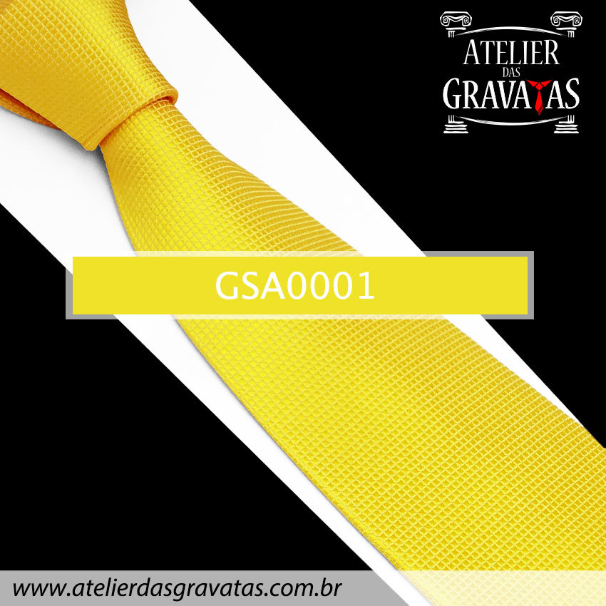 Gravata Amarela de Seda 10cm GSA0001