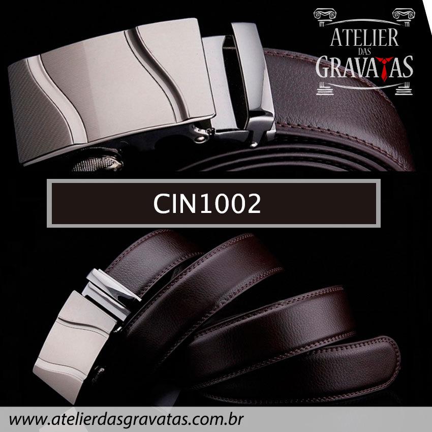 Cinto Masculino Luxo Marrom CIN1002 - padrão europeu - sem furos e ajuste na catraca