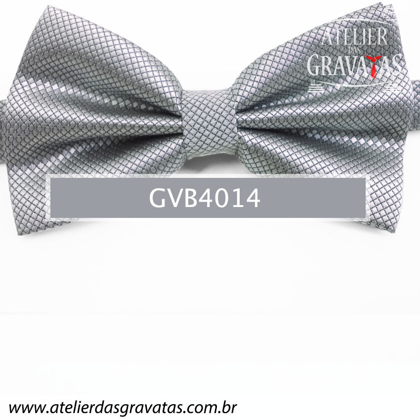 Gravata Borboleta Cinza - nó pronto GVB4014 - com ajuste de largura
