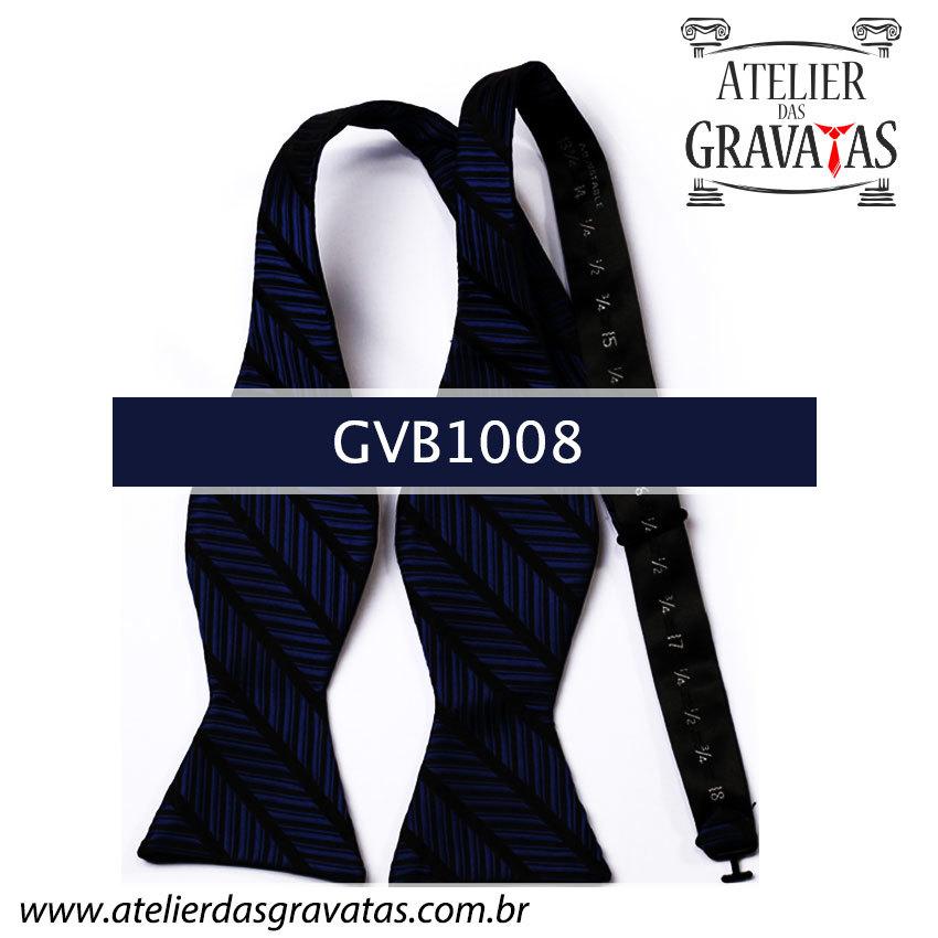 Gravata Borboleta de Seda Luxo Azul e Preta GVB1008 - acompanha lenço