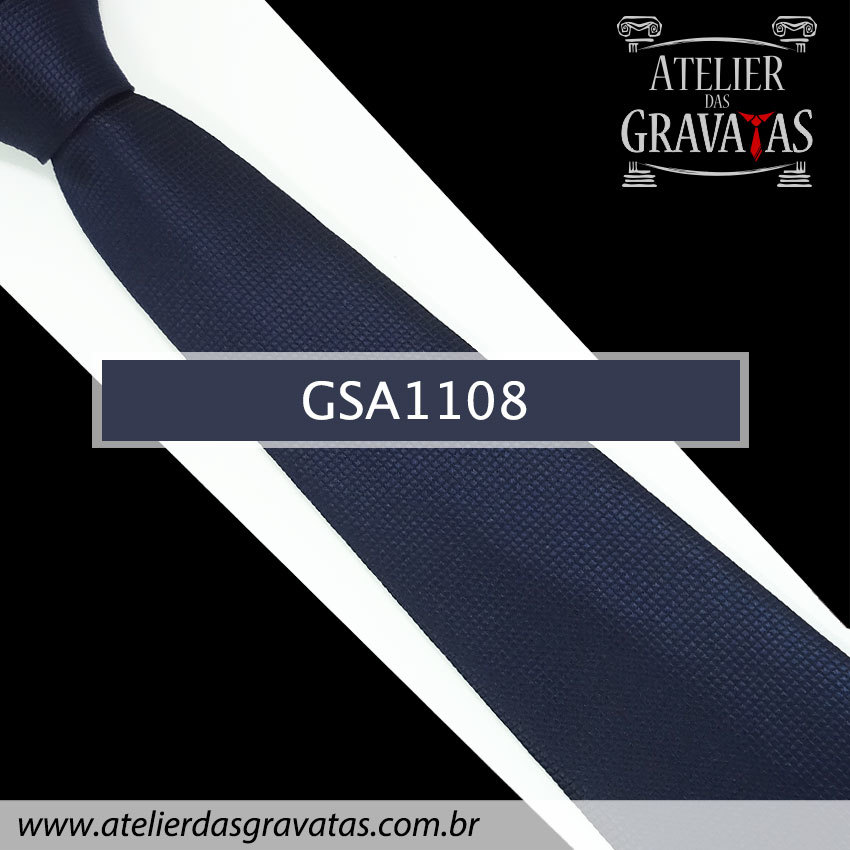 Gravata de Seda Azul Escura 10cm GSA1108