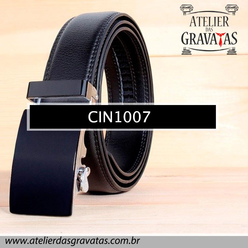 Cinto Masculino Luxo Preto CIN1007 - padrão europeu - sem furos e ajuste na catraca