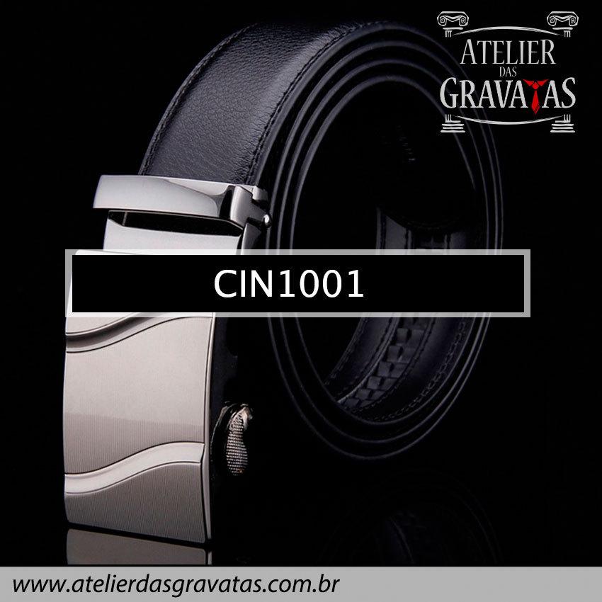 Cinto Masculino Luxo Preto CIN1001 - padrão europeu - sem furos e ajuste na catraca
