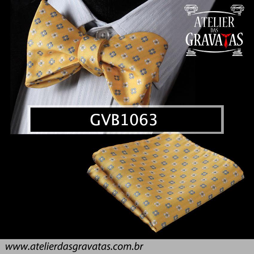 Gravata Borboleta de Seda Especial GVB1063 - acompanha lenço