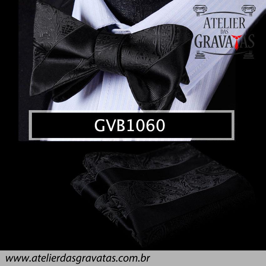 Gravata Borboleta de Seda Especial GVB1060 - acompanha lenço