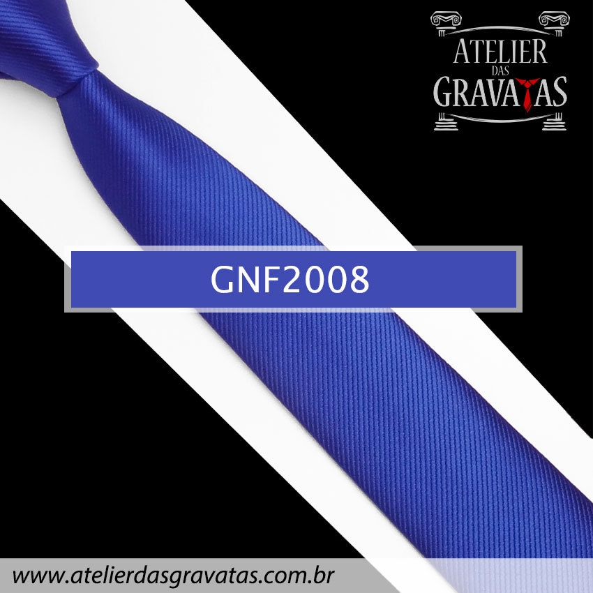 Gravata Slim Fit de Seda 6cm GNF2008 na cor Azul Royal