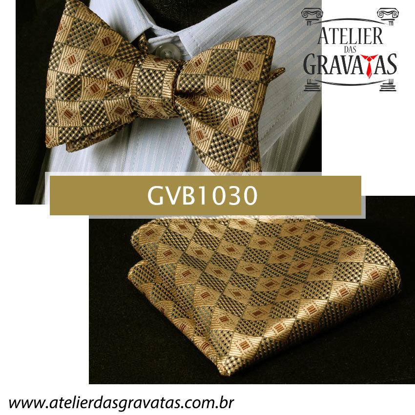 Gravata Borboleta de Seda Luxo GVB1030 - acompanha lenço