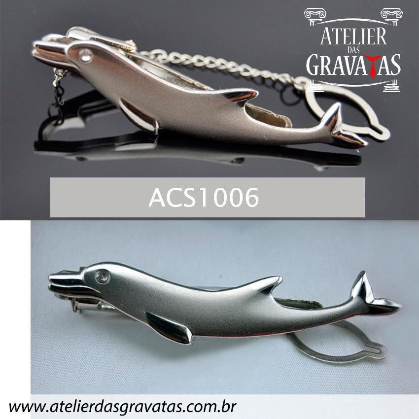 Prendedor de Gravata em Aço Inox Golfinho ACS1006