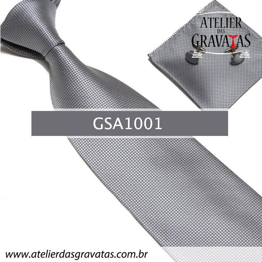 Gravata Prata Escuro de Seda 10cm GSA1001 - acompanha lenço e abotoaduras