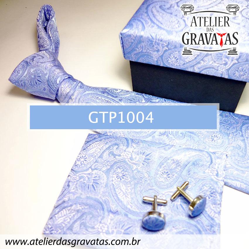 Gravata Azul Elegante de Seda Feita a Mão GTP1004