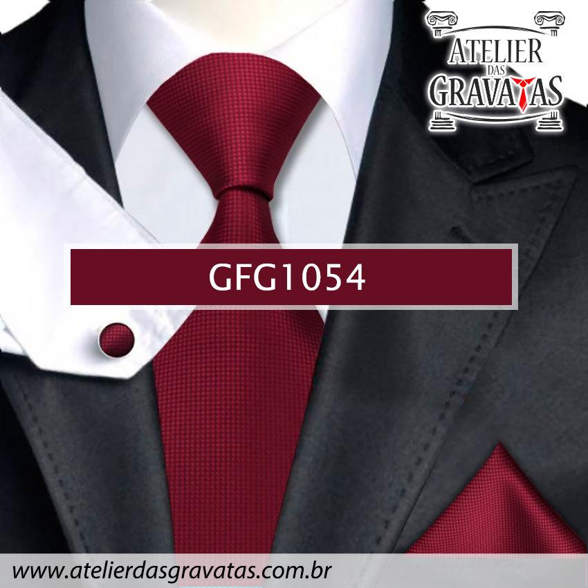 Gravata Slim Vinho de Seda Especial 8cm GFG1054 - acompanha lenço e abotoaduras