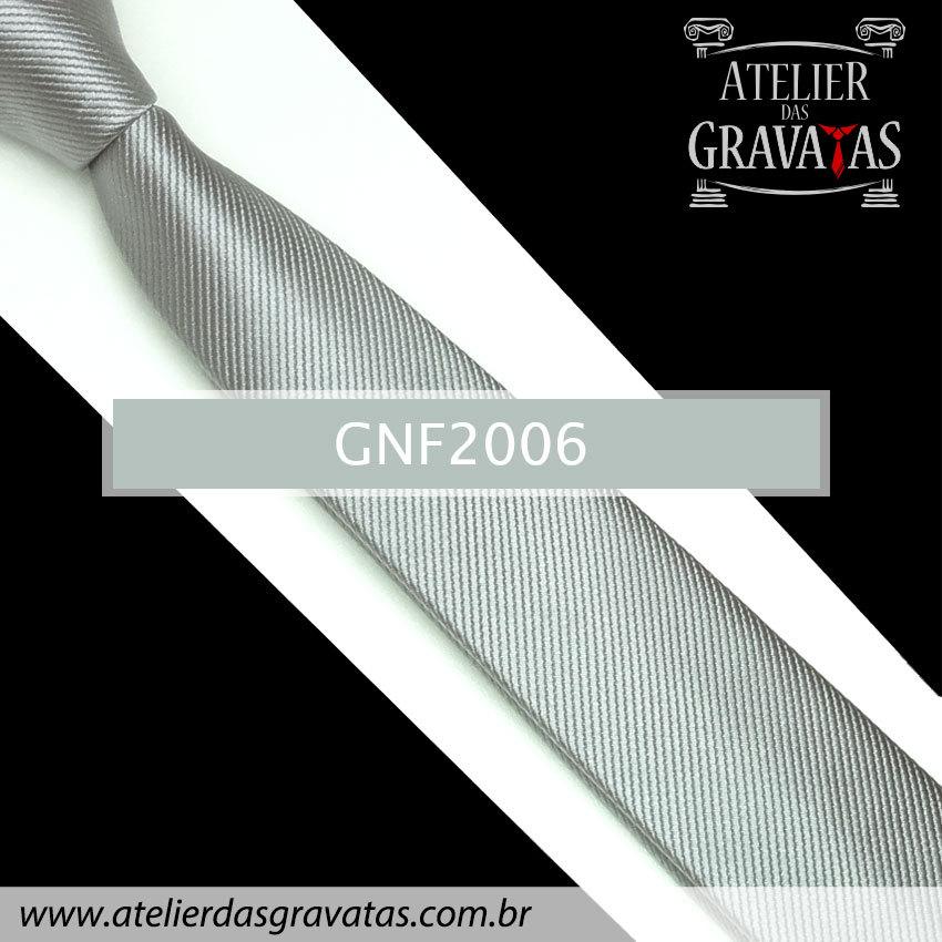 Gravata Slim Fit de Seda 6cm Prata GNF2006