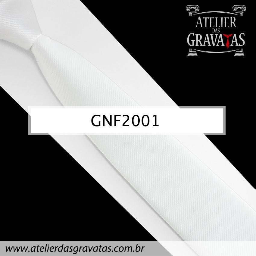 Gravata Slim Fit Branca de Seda 6cm GNF2001