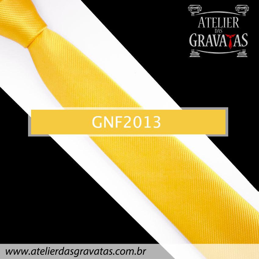 Gravata Slim Fit de Seda Amarela 6cm GNF2013