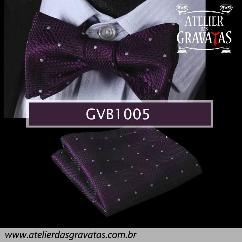 Gravata Borboleta de Seda Especial GVB1005 - acompanha lenço