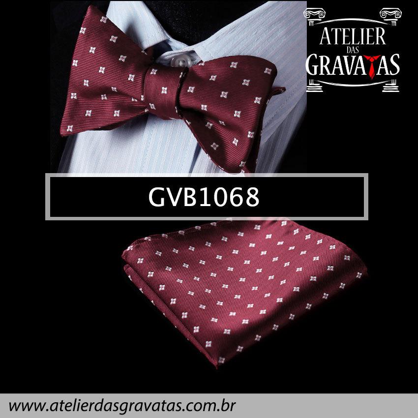 Gravata Borboleta de Seda Especial GVB1068 - acompanha lenço