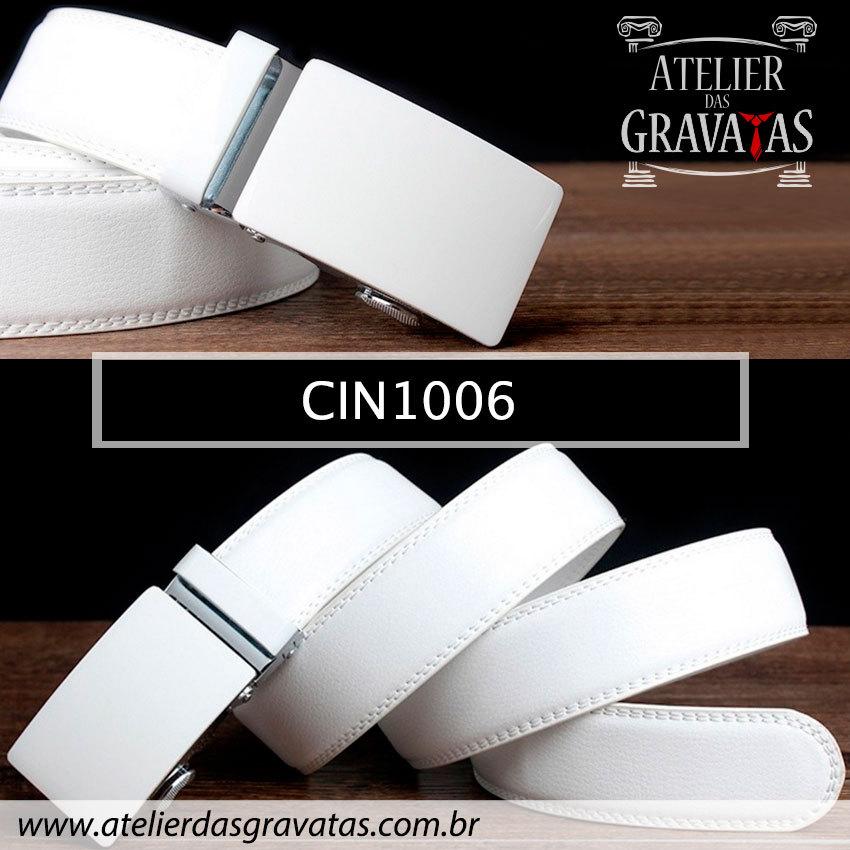 Cinto Masculino Luxo Branco CIN1006 - padrão europeu - sem furos e ajuste na catraca