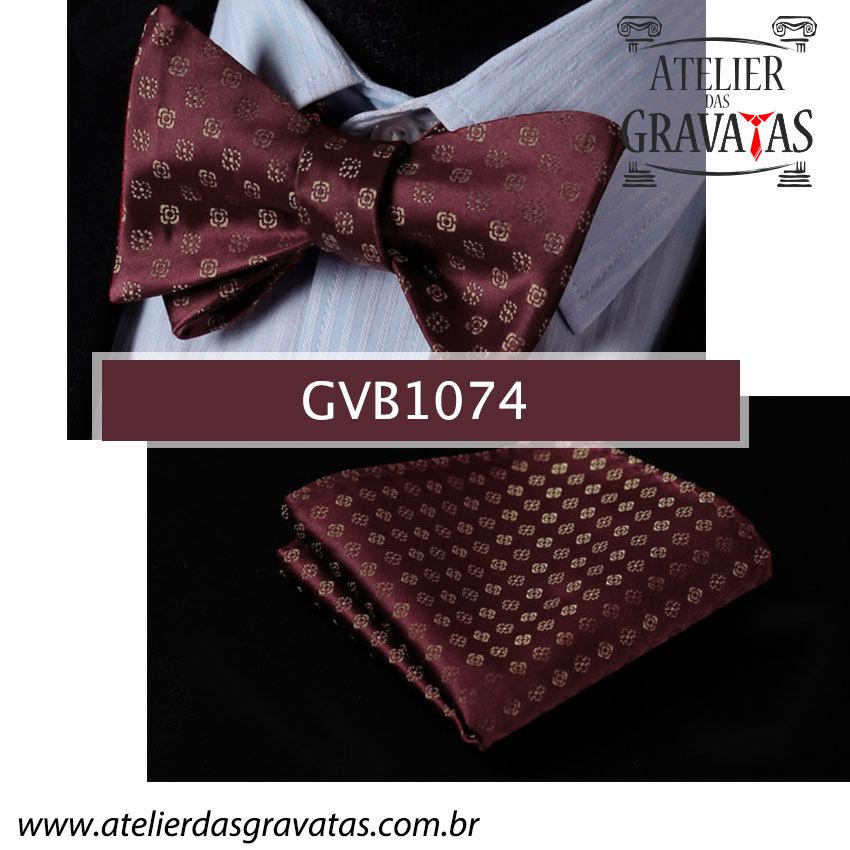 Gravata Borboleta de Seda Especial GVB1074 - acompanha lenço