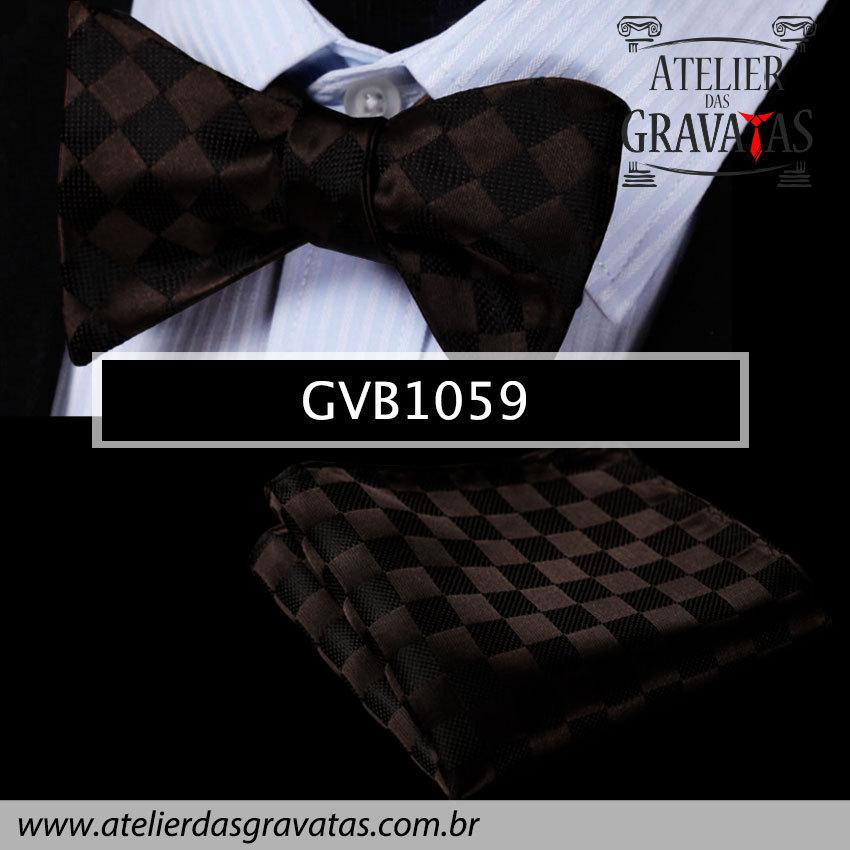Gravata Borboleta de Seda Especial GVB1059 - acompanha lenço