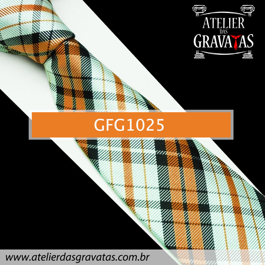 Gravata Xadrez de Seda Especial 9cm GFG1025