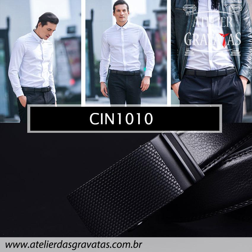 Cinto Masculino Luxo Preto CIN1010 - padrão europeu - sem furos e ajuste na catraca