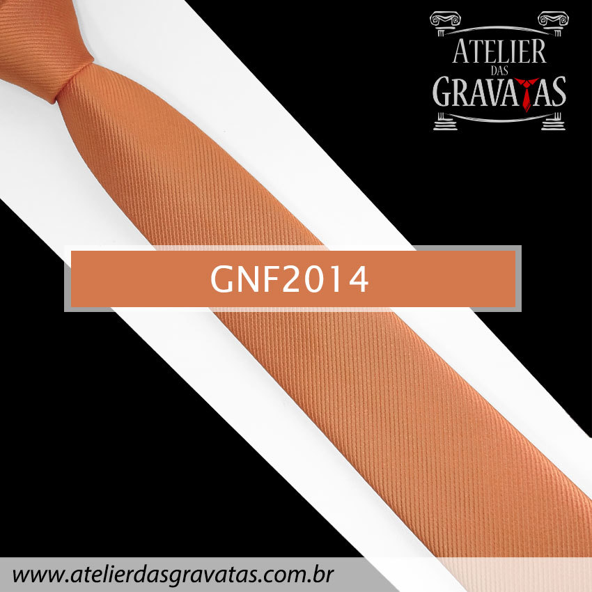 Gravata Slim Fit de Seda Laranja 6cm GNF2014